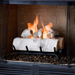 Real Flame Birch Log Set